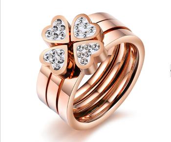 ac9e05394583 18 K chapado en oro rosa 316l de acero inoxidable de titanio con piedras CZ  de
