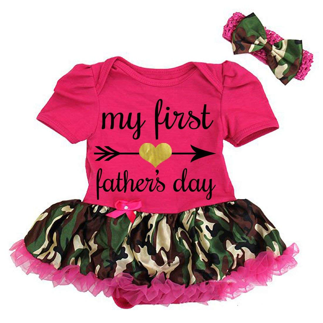 e59311f48ccb Get Quotations · G G - Cute Funny Baby Girl My First Father s Day Tutu Dress  Outfits Pink Camo