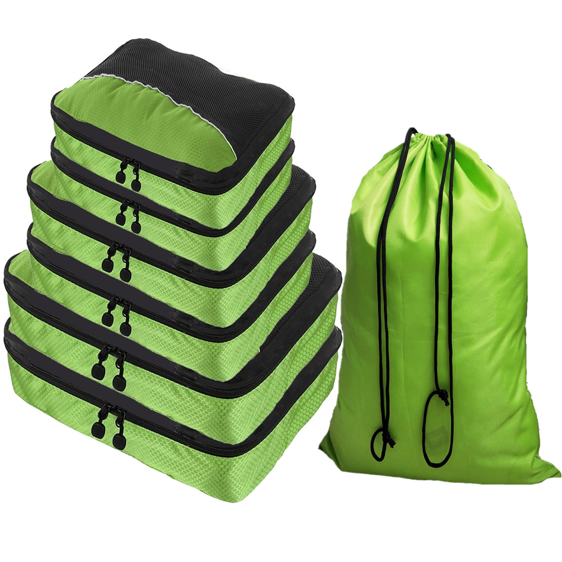 Double Zipper 6 Piece Packing Cubes Travel Organizer with Laundry Bag