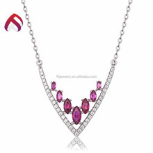 Factory price created ruby cz necklaces, 925 sterling silver necklace for women