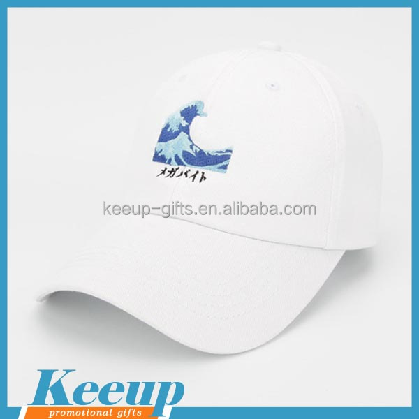 Wholesale advertising 6 panel white baseball cap UK with metal buckle