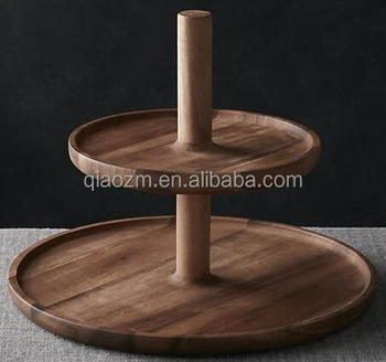 2 Tier Acacia Wood Cake Stand Buy Wooden 2 Tier Server Wooden Cake