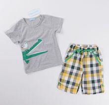 New Retail one set baby boys clothes summer 2pcs cartoon clothing set short sleeves T-shirt+shorts kids clothes
