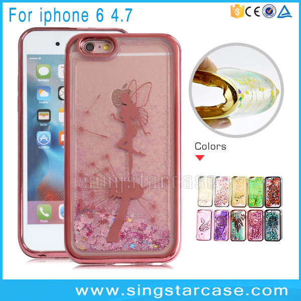 Electroplated TPU Printed Dancing Angel Back Cover Liquid Quicksand Case for iPhone 6s iPhone6 Bling Glitter