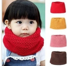 New 2016 Design Soft Candy Color Neck Bib Scarfs Kids Knitted Collar Winter Warm Scarf for Children Baby Girls Neckerchief