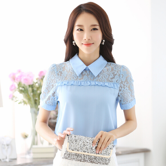 Women white lace shirt chiffon blouse blusas 2015 summer tops short sleeve plus size blouses blusa feminina