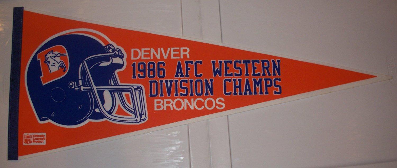 1a6a4902 Buy Vintage Denver Broncos 1986 AFC West Division Champions Pennant ...