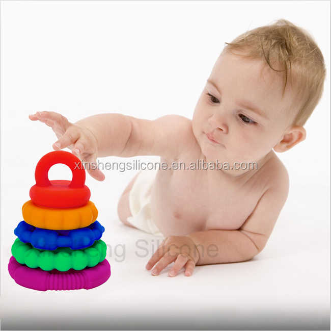 Educational Silicone Rainbow Stacker Toy, Silicone Rainbow Stacking Rings, Kids Toy Silicone Rainbow Stacker Rings