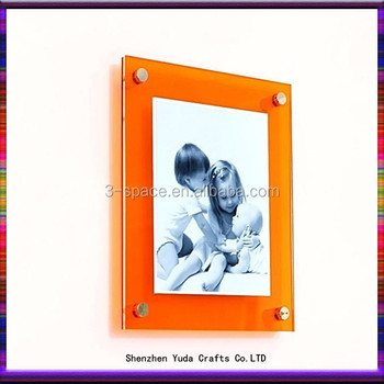 Large Acrylic Photo Display Holder With Wall Mount Spacers Standoff