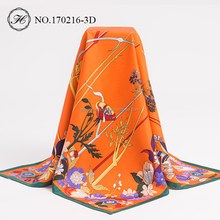 Screen Printing Twill 100% 90x90 Silk Scarf Square Wholesale 2017 New Hot-Selling Fashion For Women
