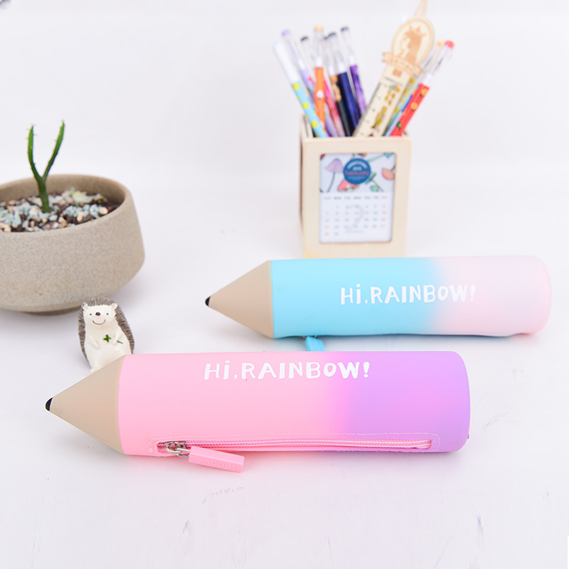 2016 New Design Languo Style Colorful Silicone Pencil Shaped Pencil Case LG-8707