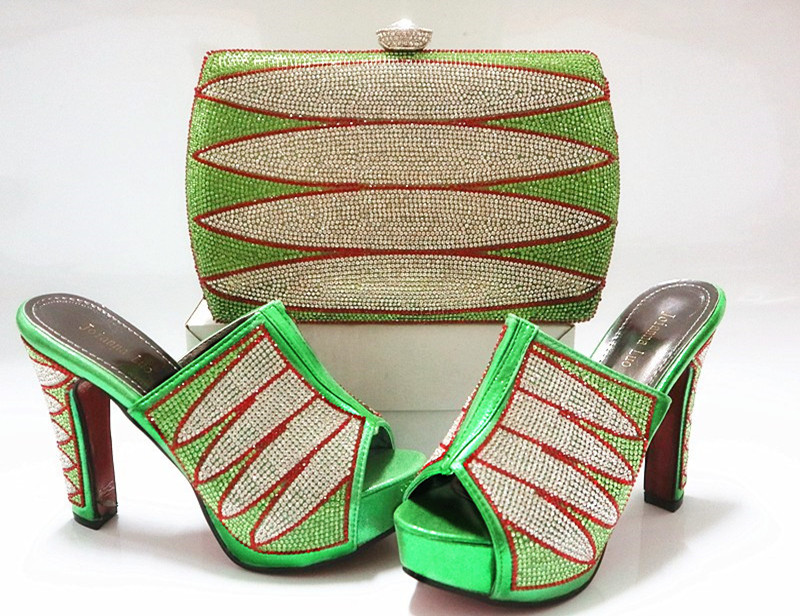 and Bag stones and wedding toe to purse match shoes Green Shoes open XI8qx