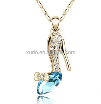 free shipping crystal high heel pendant necklace 10 colors in stock