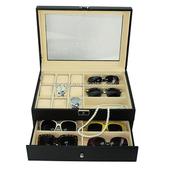 Genial Multi Purpose Black Leather Display Storage Watch And Sunglass Case  Organizer