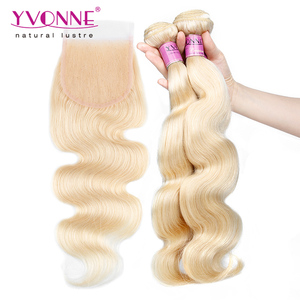 Best selling peruvian blonde hair bundles with lace closure