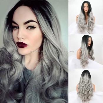 Schwarze Ombre Graue Haare Synthetische Graue Spitzefrontperücke