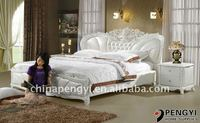white leather bed with crystal py-991