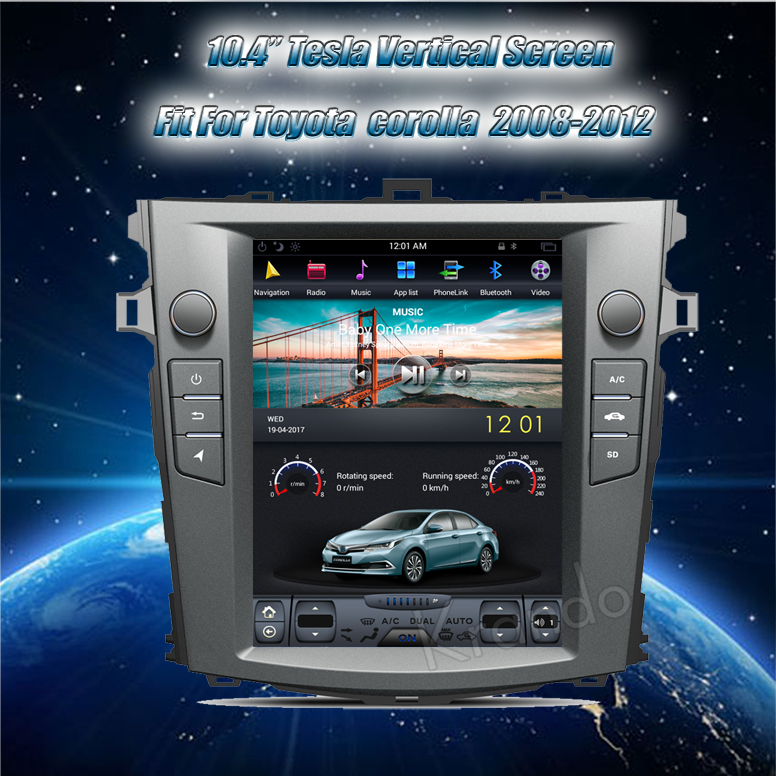 Vertical screen for toyota Corolla