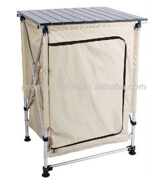 Outdoor Aluminium Portable Folding Camping Kitchen Table With Two
