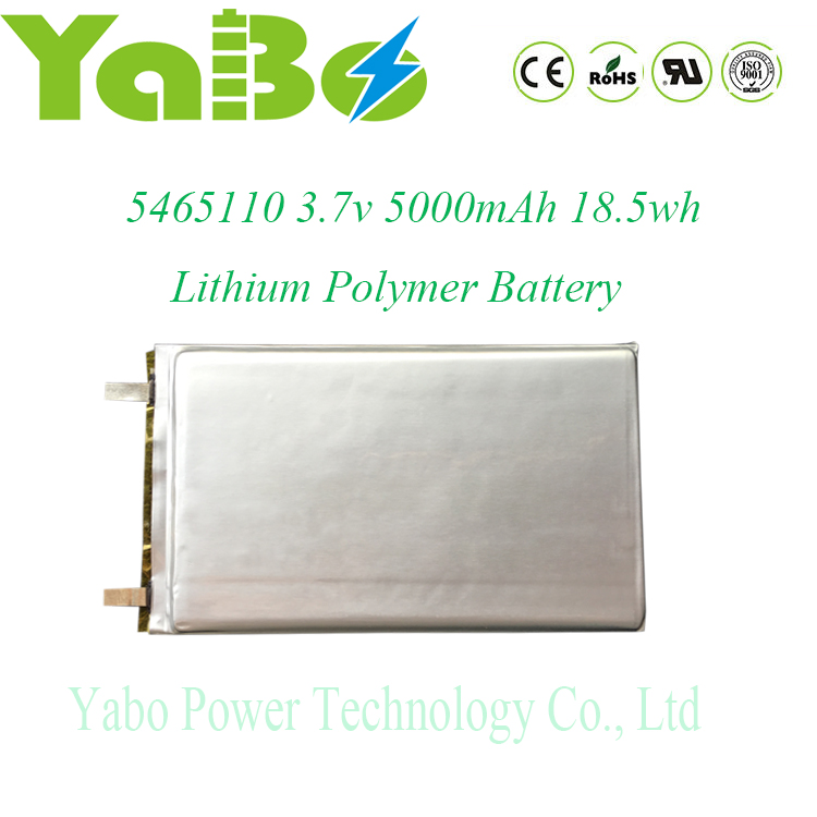 5.4*65*110mm HOT SALE!! high capacity lithium polymer battery 3.7v 5000mah prismatic lipo battery