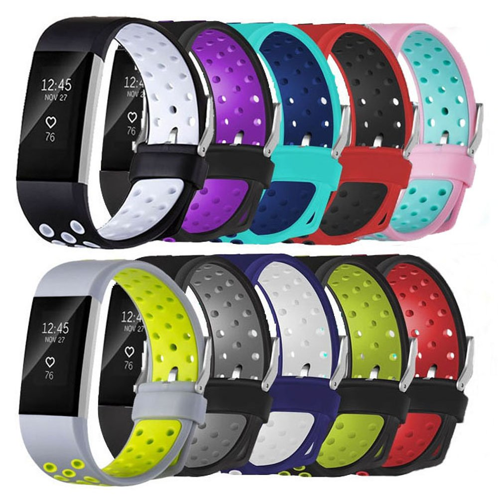 For Fitbit Charge 2 Bands, New Bracelet Strap Replacement Band Wristband with Secure Silicone Fasteners Metal Clasps for Fitbit Charge 2 (No Tracker)