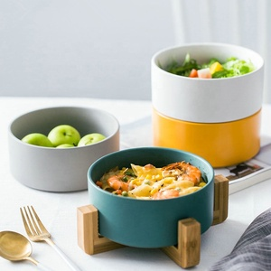 Wholesale stackable matte glaze stoneware mixing salad bowl with bamboo tray