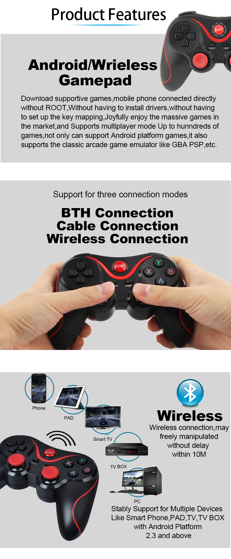 Hot !Wireless gamepadwith holder Mobile Phone joystick & game controller