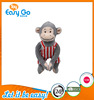 good sale high quality customized production super cute grey monkey in red stripe clothes soft plush toy