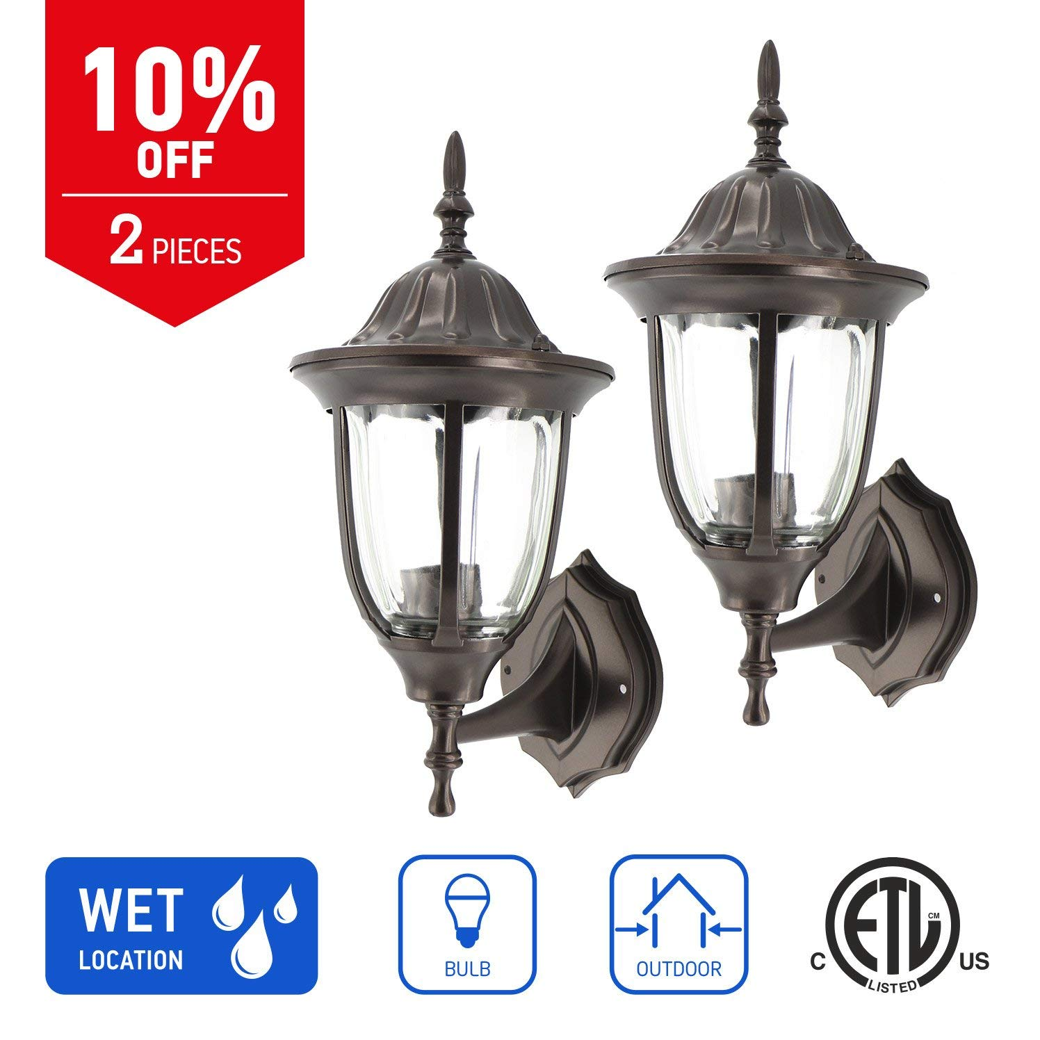 IN HOME 1-Light Outdoor Exterior Wall Up Lantern, Traditional Porch Patio Lighting Fixture L03 with One E26 Base, Water-Proof, Bronze Cast Aluminum Housing, Clear Glass Panels, (2 Pack) ETL Listed