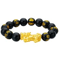 XSJ005 12mm Black Obsidian Six Word Mantra Buddha Beads Pixiu Animal Bracelet Religious Wealth Men's Jewelry