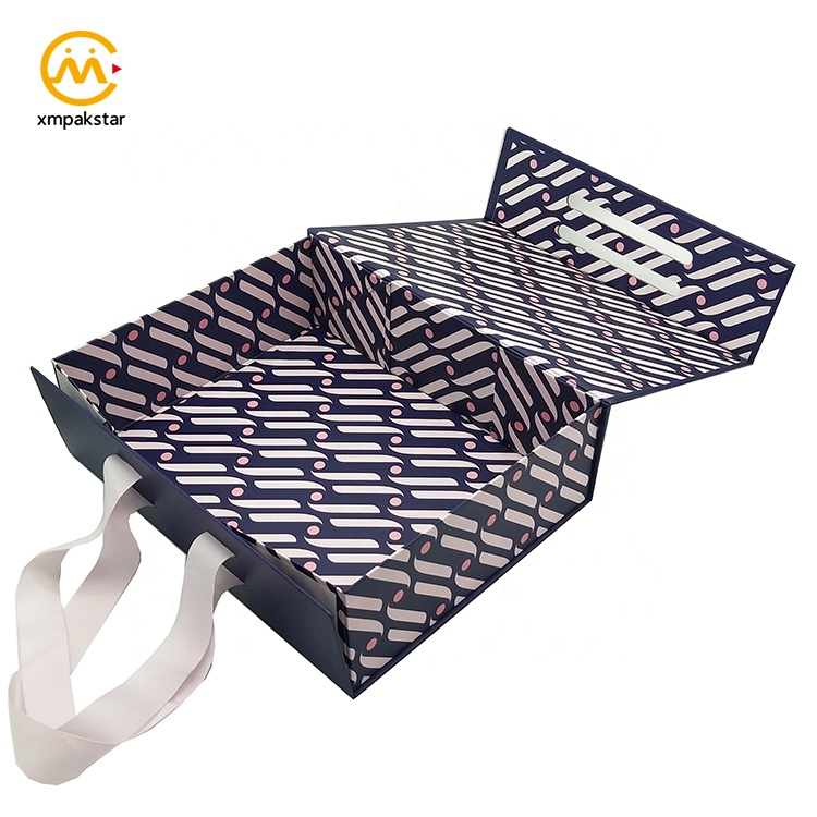 Fancy custom printed collapsible cardboard magnetic close flap gift box with ribbon handle