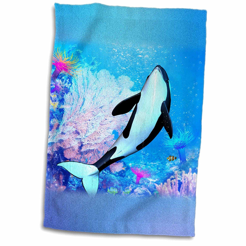 3dRose Simone Gatterwe Designs Sea Life - A killer whale swims through the sea, the marine life - 12x18 Towel (twl_181689_1)
