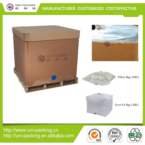 UNI-PACKING 1000L square paper ibc <strong>container</strong> with food grade ibc liner for palm oil liquid stuff transportation