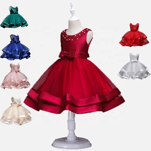 Elegant Solid Bow layered Summer Baby Girls sleeveless Party Princess dresses Birthday Wedding Concert costume wear