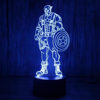 Captain America USB 3D Led Night Light 7colors Christmas Gift Illusion Lamp