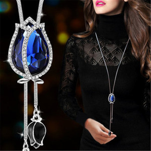 Retro Wild Exaggeration Flower Sweater Chain Necklace Blue Crystal Tulip Flower Tassel Pendant Necklace