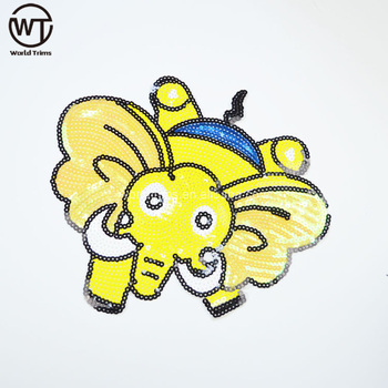 Animal Applique Embroidery Designs Yellow Custom Embroidery Sequin
