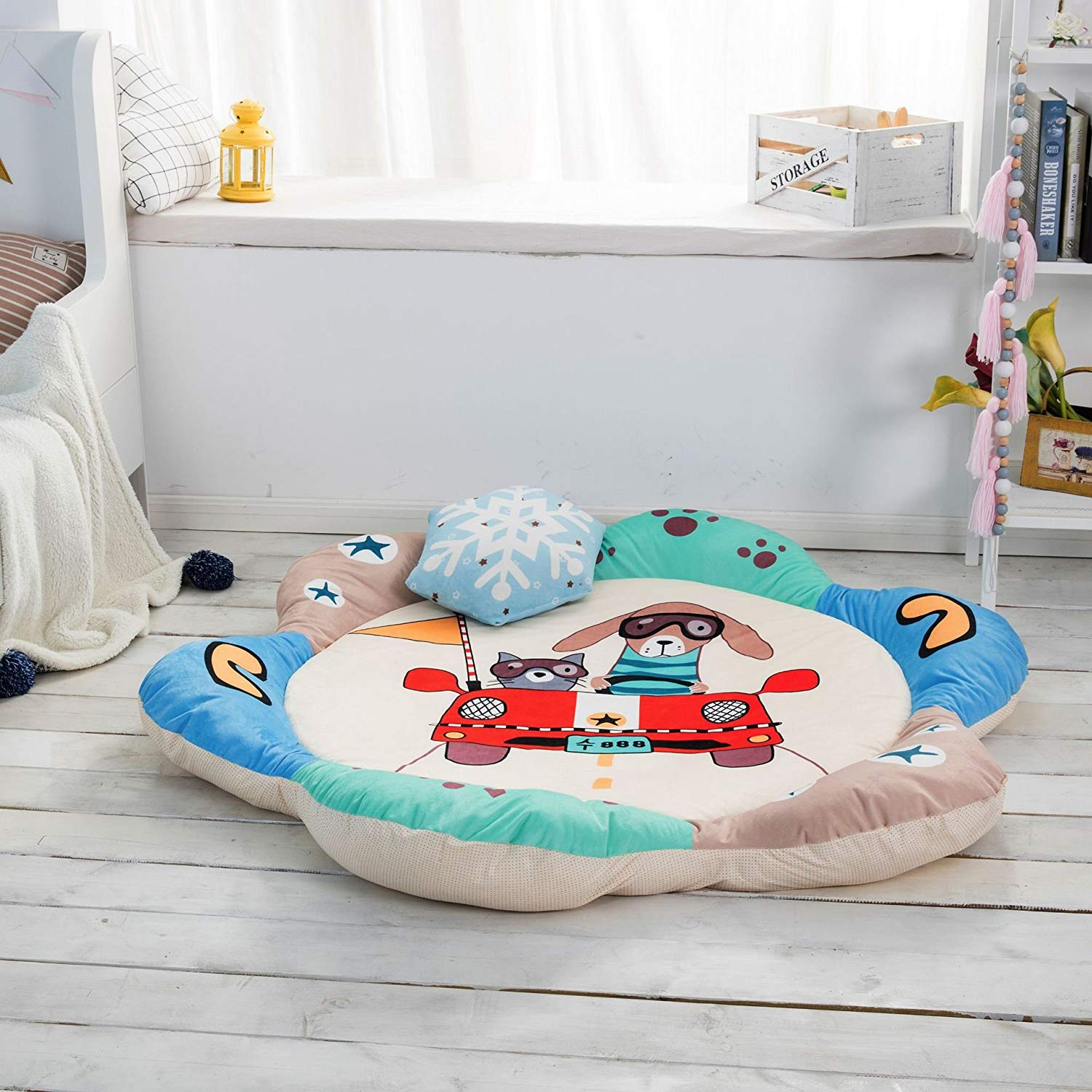 Soft Fenced Round Rug Cotton Baby Play Mat Round Rugs Sunflower Petals Carpet Play Mat Extra-Thick Round Mat Kids Room Decoration 54.6 in (dog)