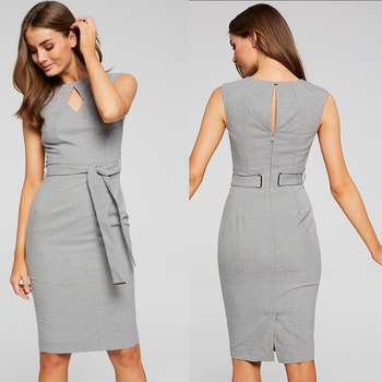 grey fabric women clothes sexy round neck sleeveless office career pencil dress with waist belt slim fitting