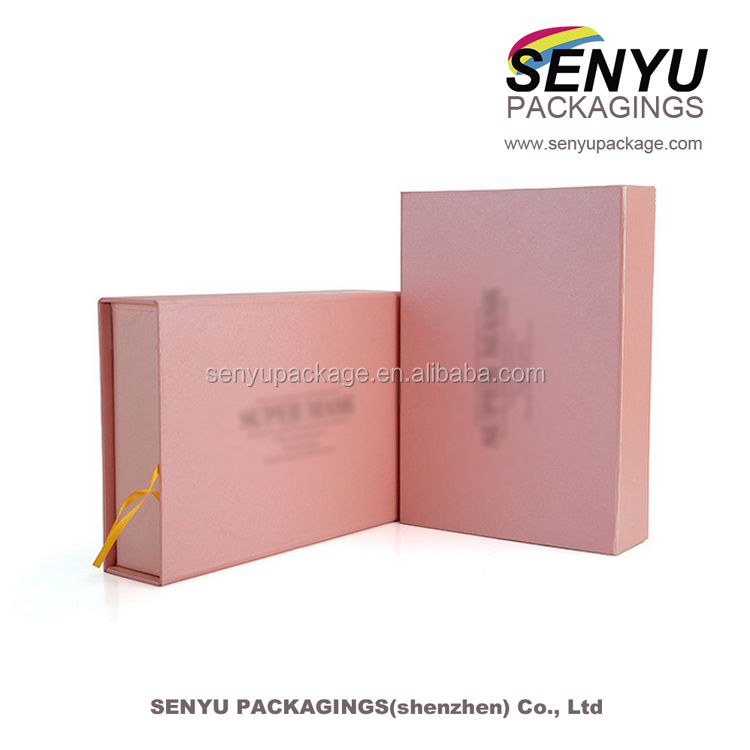pink color rigid cardboard paper custom luxury gift box packaging for perfume and cosmetic box