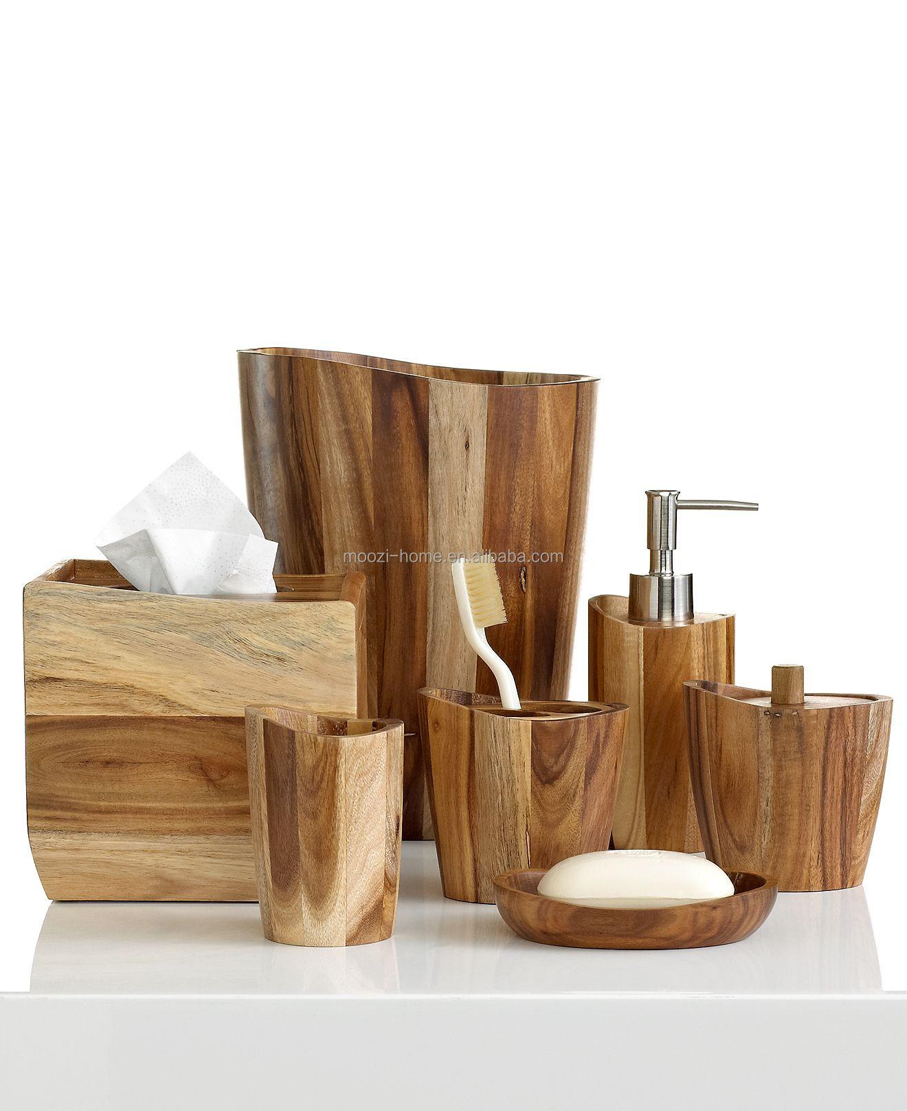 Natural Wooden Bath Sets,Wood Bathroom Accessories