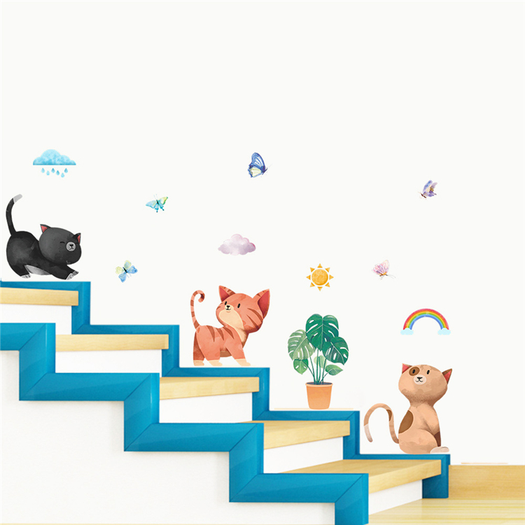 Cartoon cat wall sticker children's room nursery living room decoration pvc waterproof removable wall decal poster