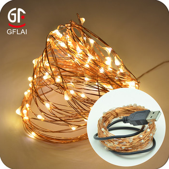 Christmas Decorations 10M 33FT 100 LEDs Mirco 5V Copper Wire Warm White LED USB String Lights