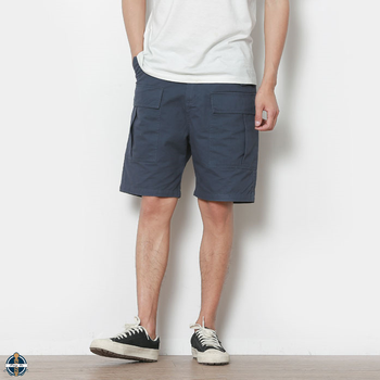 T-MS007 Navy Blue Cotton Elastic Waist Men Cargo Shorts