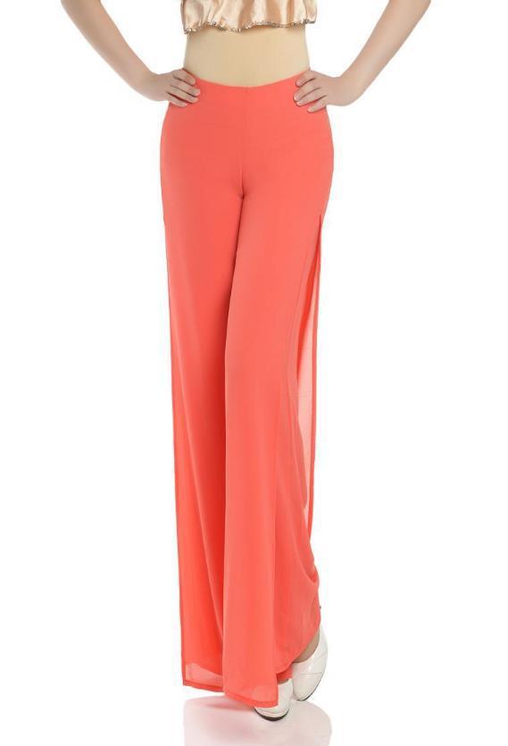a21cd6acc46e Get Quotations · 2015 summer Women casual Loose high waist chiffon dress  pants Ladies Elegant side split trousers wide
