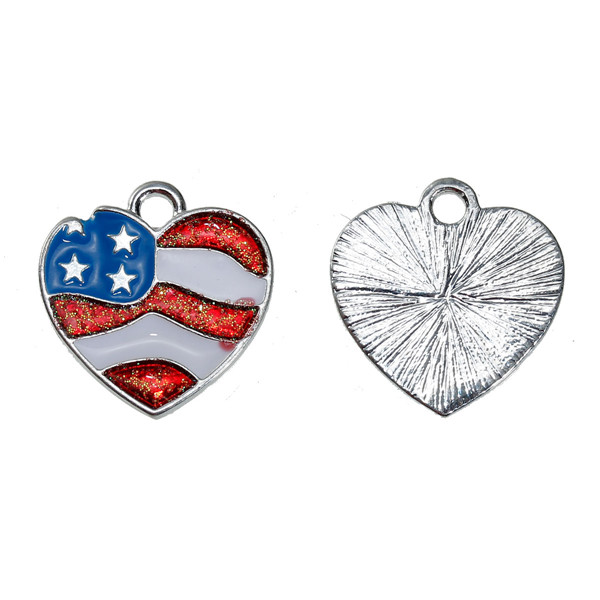 Zinc Based Alloy Charms Heart Silver Plated Flag of the United States White & Red Enamel 18mm x 17mm