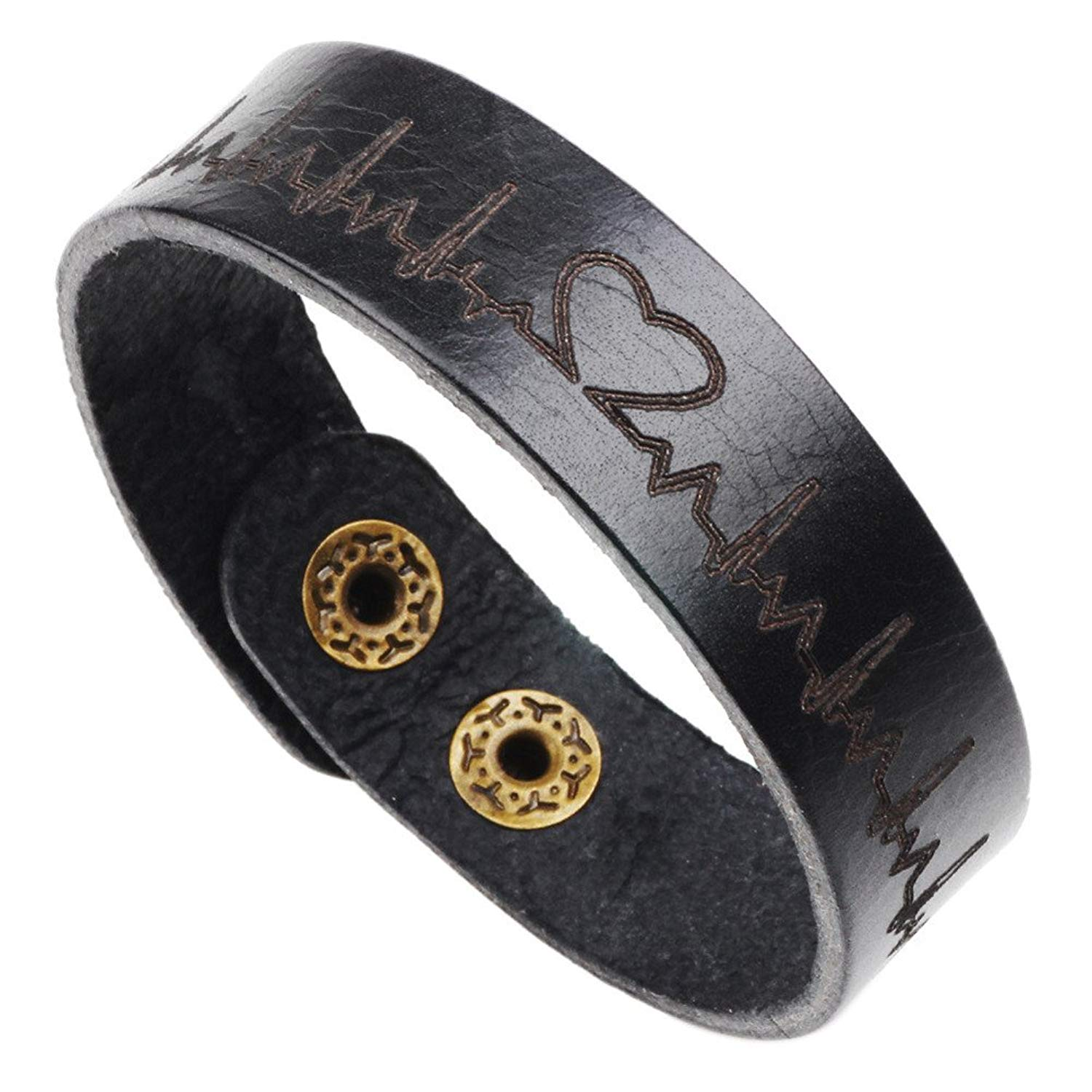 Get Quotations LiFashion LF Mens Handmade Black Cowhide Leather Heartbeat Wristband Heart Beat Stethoscope Love Adjustable Bracelet For