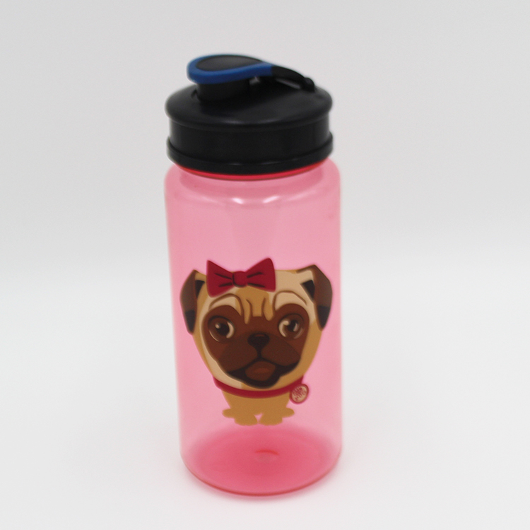 2016 Pink color plastic water bottle, bpa free animal tritan bottle with custom logo