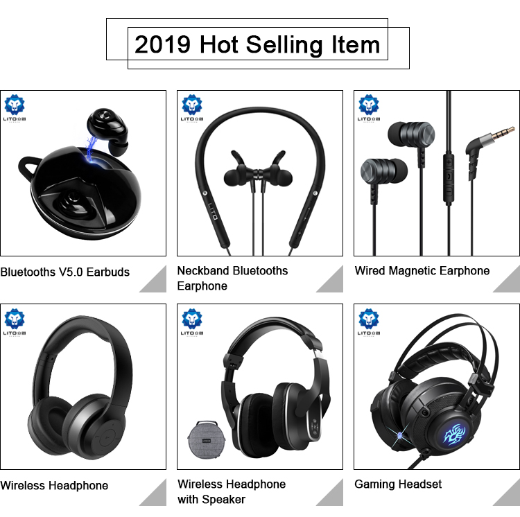 LITO support sample OEM 2018 stereo wireless headset earphone bluetooths headphone with microphone