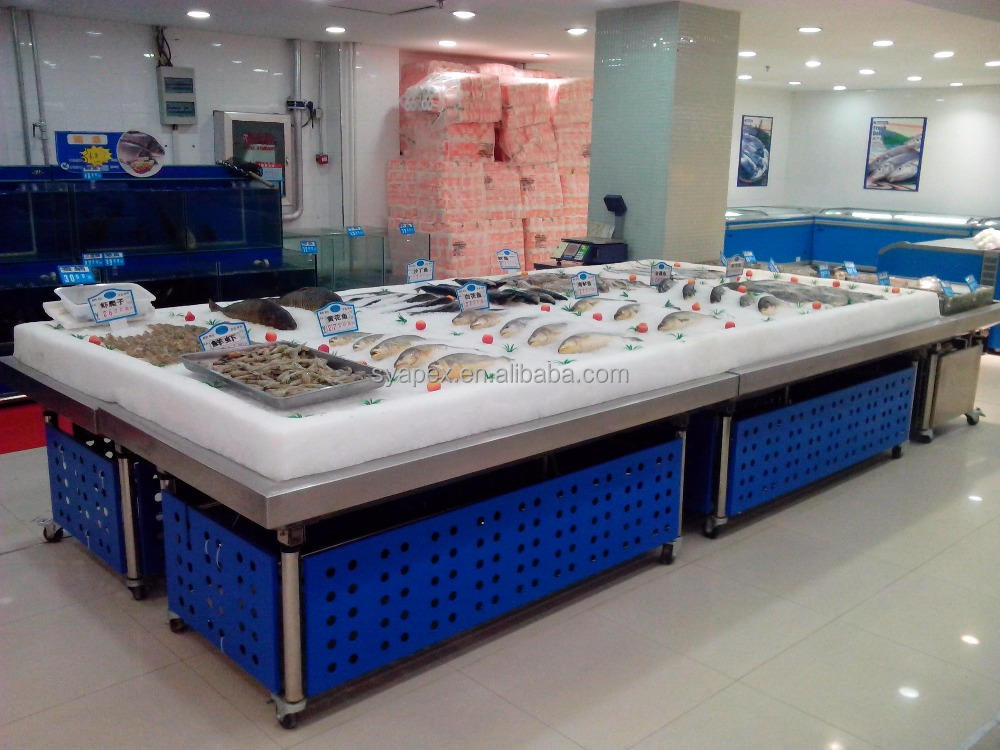 APEX custom make commercial supermarket restaurant stainless steel frozen oysters display table